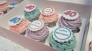 Happy birthday message cupcakes